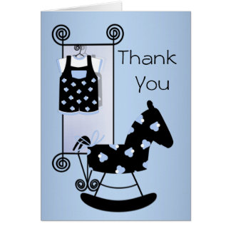 Black Blue Rocking Horse Baby Shower Thank You Stationery Note Card