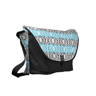 Black & Blue Scroll Messenger Bag