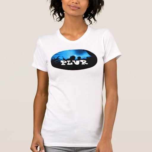 "Black & Blue Silhouetted Rave ""PLUR"" T-Shirt"