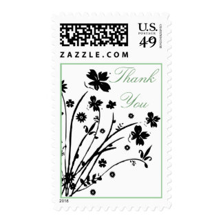 Black Blue Small Flowers Thank You Postage Stamp