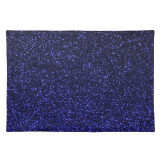 Black blue sparkly glitter placemat