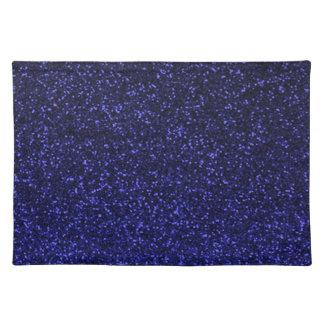 Black blue sparkly glitter place mat