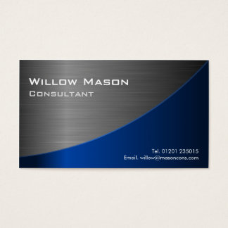 Black & Blue Stainless Steel Curved, Business Card