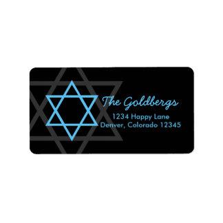 Black Blue Star of David Return Address Label
