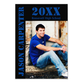 Black/Blue Stencil Letters - 3x5 Grad Announcement