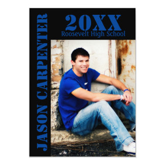 Black/Blue Stencil Letters - Grad Announcement