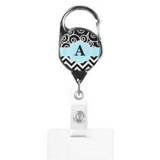 Black Blue Swirl Chevron Monogram Badge Holder