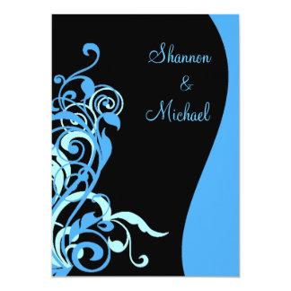 Black Blue Swirl Wedding Invitation