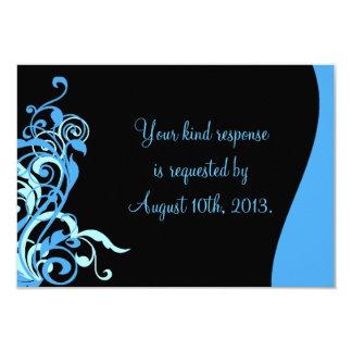 Black Blue Swirl Wedding RSVP Invitation