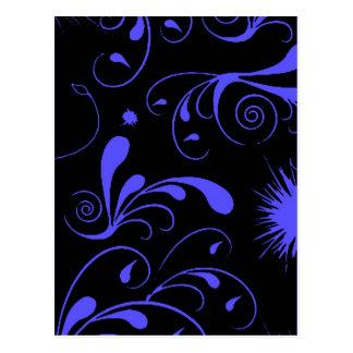 black blue swirls postcard
