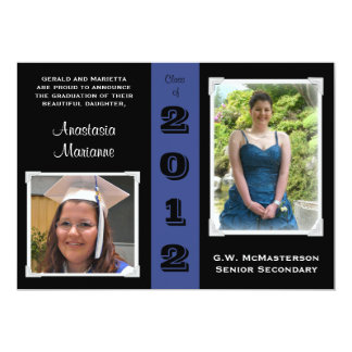 Black & Blue Two Photos Graduation Announcement
