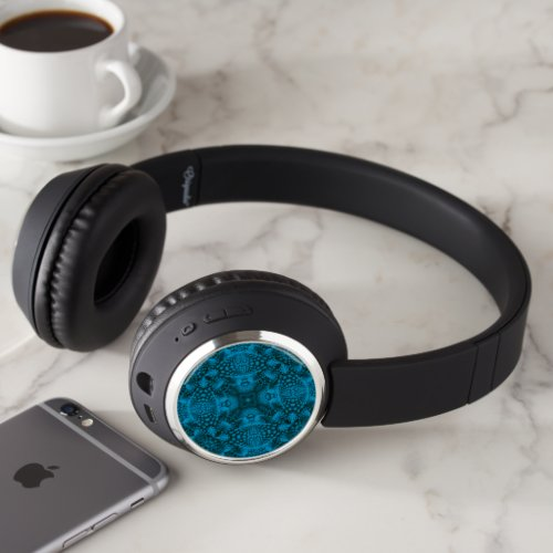 Black & Blue Vintage Blue Fractal Kaleidoscope Headphones