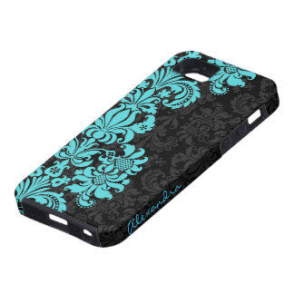 Black & Blue Vintage Floral Damasks iPhone SE/5/5s Case