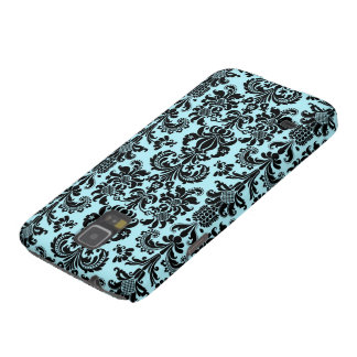 Black & Blue Vintage Floral Damasks Pattern Galaxy S5 Covers