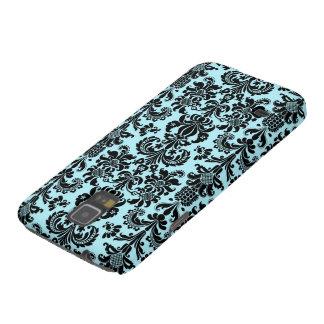 Black & Blue Vintage Floral Damasks Pattern Galaxy S5 Cases