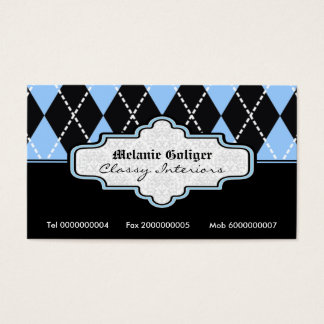Black blue white argyle trendy business cards