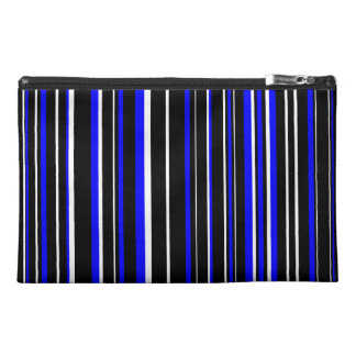 Black, Blue, White Barcode Stripe Travel Accessory Bags