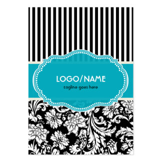 Black Blue & White Floral Damasks 2-Customized Business Card Templates