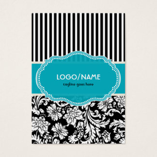 Black Blue & White Floral Damasks 2-Customized Business Card