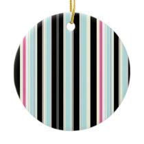 Black Blue White Pink Vertical Stripe Pattern Ceramic Ornament