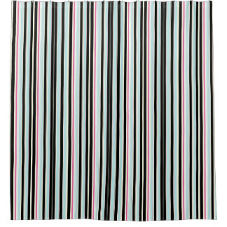Black And Blue Stripes Shower Curtains   Zazzle