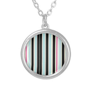 Black Blue White Pink Vertical Stripe Pattern Silver Plated Necklace