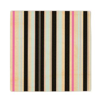 Black Blue White Pink Vertical Stripe Pattern Wooden Coaster