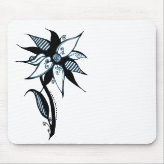 Black Blue White Swirly Flower by Naomi Mousepad