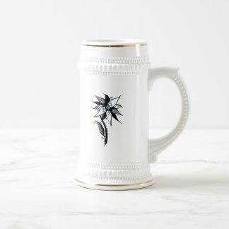 Black Blue & White Swirly Flower by Naomi 18 Oz Beer Stein