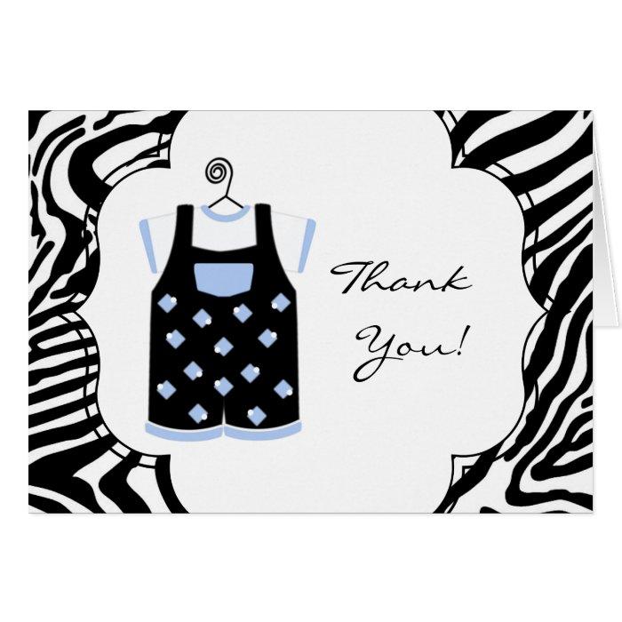Black Blue Zebra Baby Boy Shower Thank You Card