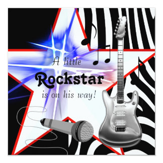 "Black Blue Zebra Rockstar Baby Boy Shower 5.25"" Square Invitation Card"