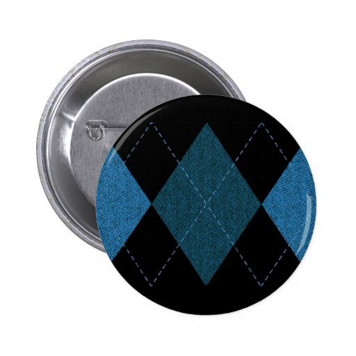 BLACK BLUES DIAMOND SHAPES WINTERY PATTERN PINBACK BUTTON