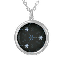 Black Bluish grey Patterns and Shapes Silver Plated Necklace