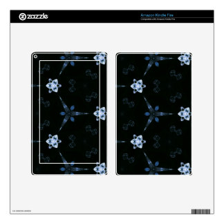 Black Bluish grey Patterns and Shapes Skins For Kindle Fire