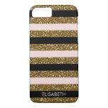 Black, Blush & Gold Glitter Stripes, Personalized Iphone 7 Case at Zazzle