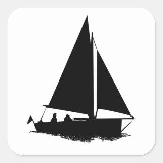 Black Boat Silhouette Square Sticker