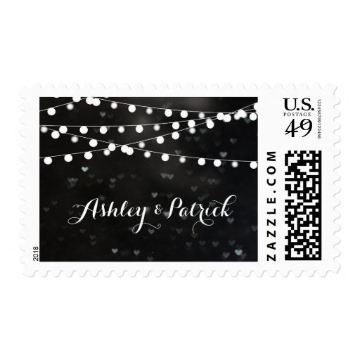 Black Bokeh String of Lights Stamp
