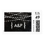 Black Bokeh String of Lights Stamp with initials