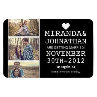 Black Bold Photo Strip Save The Date Magnet