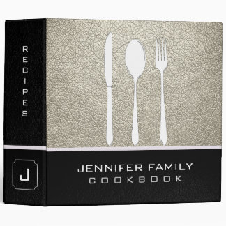 Black & Bone Leather Family Cooking 3 Ring Binder