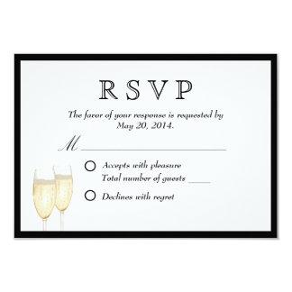 Black Border Champagne Toast Wedding RSVP Card