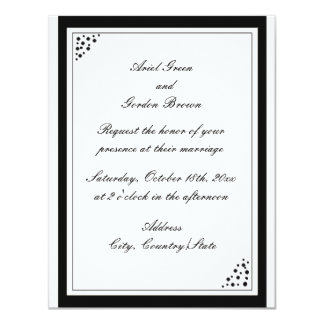 Black Border Dots Wedding Invitation