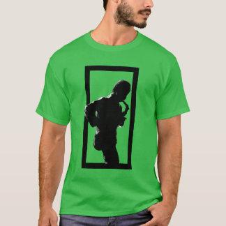 Black Border Saxophone Player JAZZ T-shirt