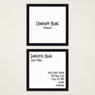 Black Border White Square Black Text Square Business Card