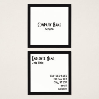 Black Border White Square Black Text Square Business Card