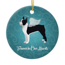Black Boston Terrier Dog Angel Pet Memorial Ceramic Ornament