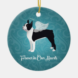 Black Boston Terrier Dog Angel Pet Memorial Ceramic Ornament
