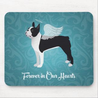 Black Boston Terrier Dog Angel Pet Memorial Mouse Pad