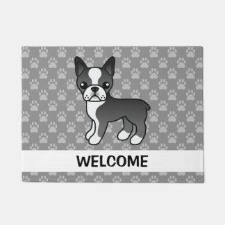 Black Boston Terrier Dog With Welcome Text Doormat