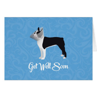 Black Boston Terrier Get Well Soon Funny Dog Card